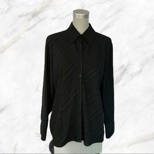 Vintage | Sheer Stripped Black Button-Down Blouse